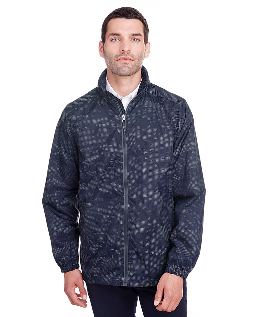 Classic Navy/Carbon - NE711 North End Men's Rotate Reflective Jacket   Blankclothing.ca