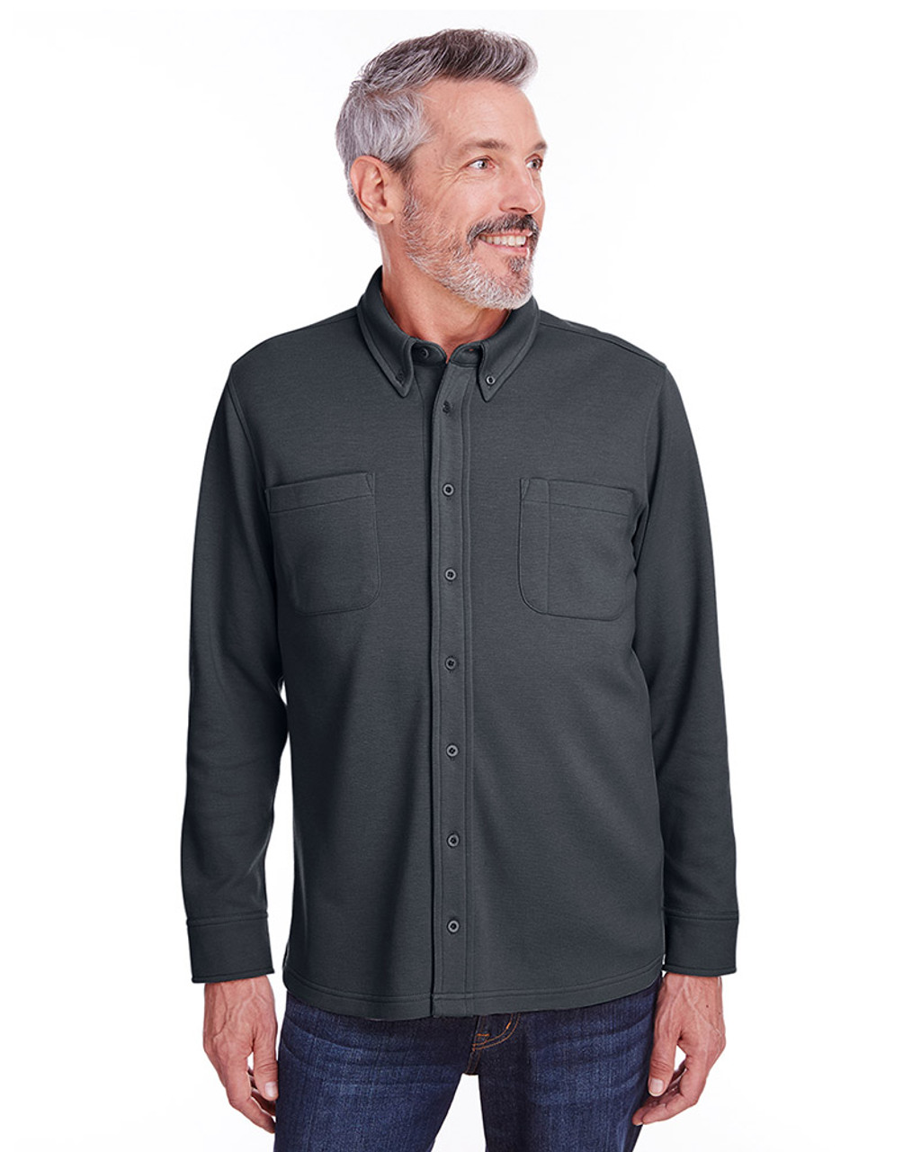 Dark Charcoal - M708 Harriton Adult StainBloc™ Pique Fleece Shirt-Jacket | Blankclothing.ca