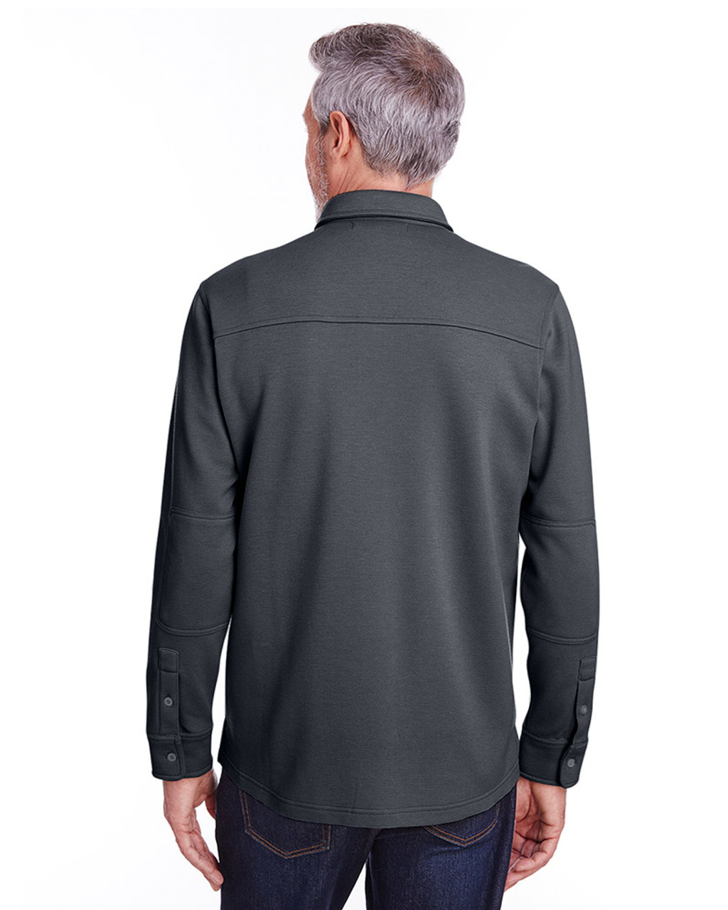 Dark Charcoal - back, M708 Harriton Adult StainBloc™ Pique Fleece Shirt-Jacket | Blankclothing.ca