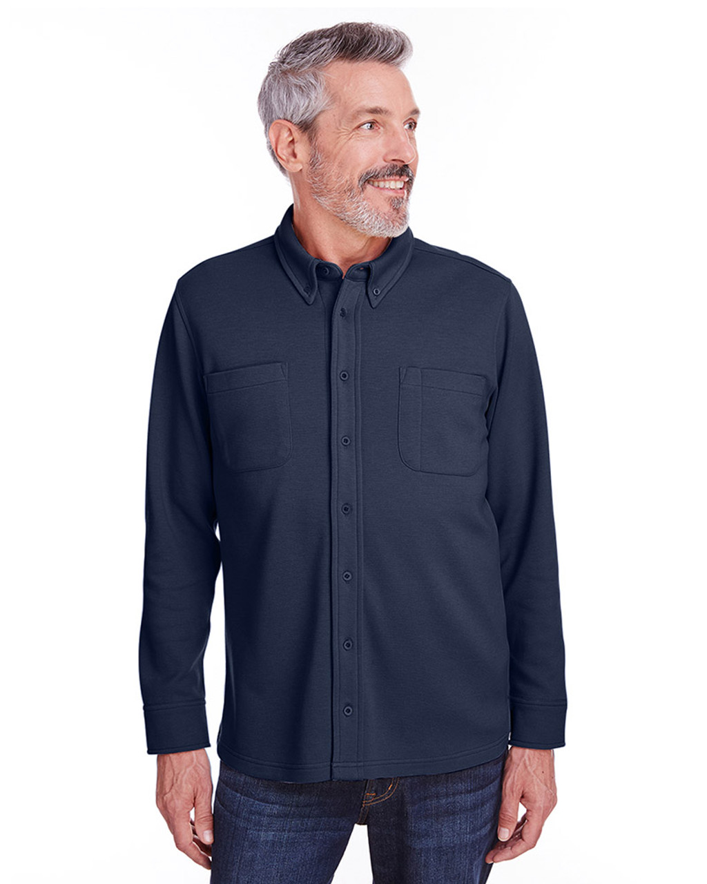 Dark Navy - M708 Harriton Adult StainBloc™ Pique Fleece Shirt-Jacket | Blankclothing.ca