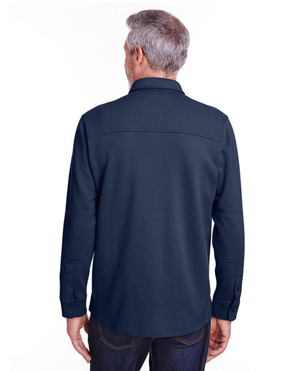 Dark Navy - back, M708 Harriton Adult StainBloc™ Pique Fleece Shirt-Jacket | Blankclothing.ca