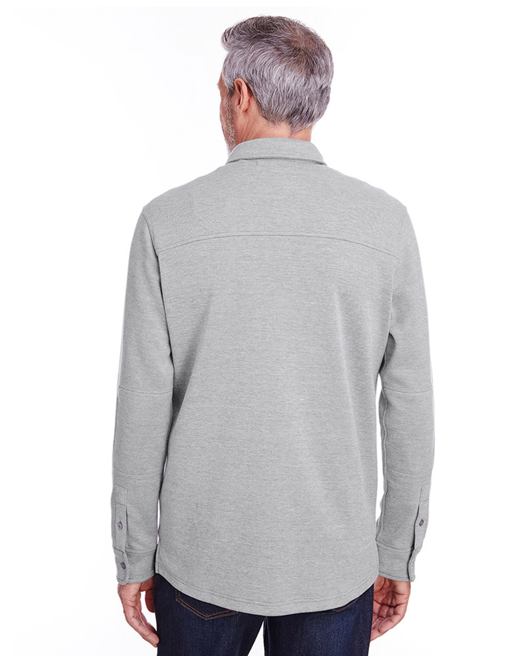 Grey Heather - back, M708 Harriton Adult StainBloc™ Pique Fleece Shirt-Jacket | Blankclothing.ca