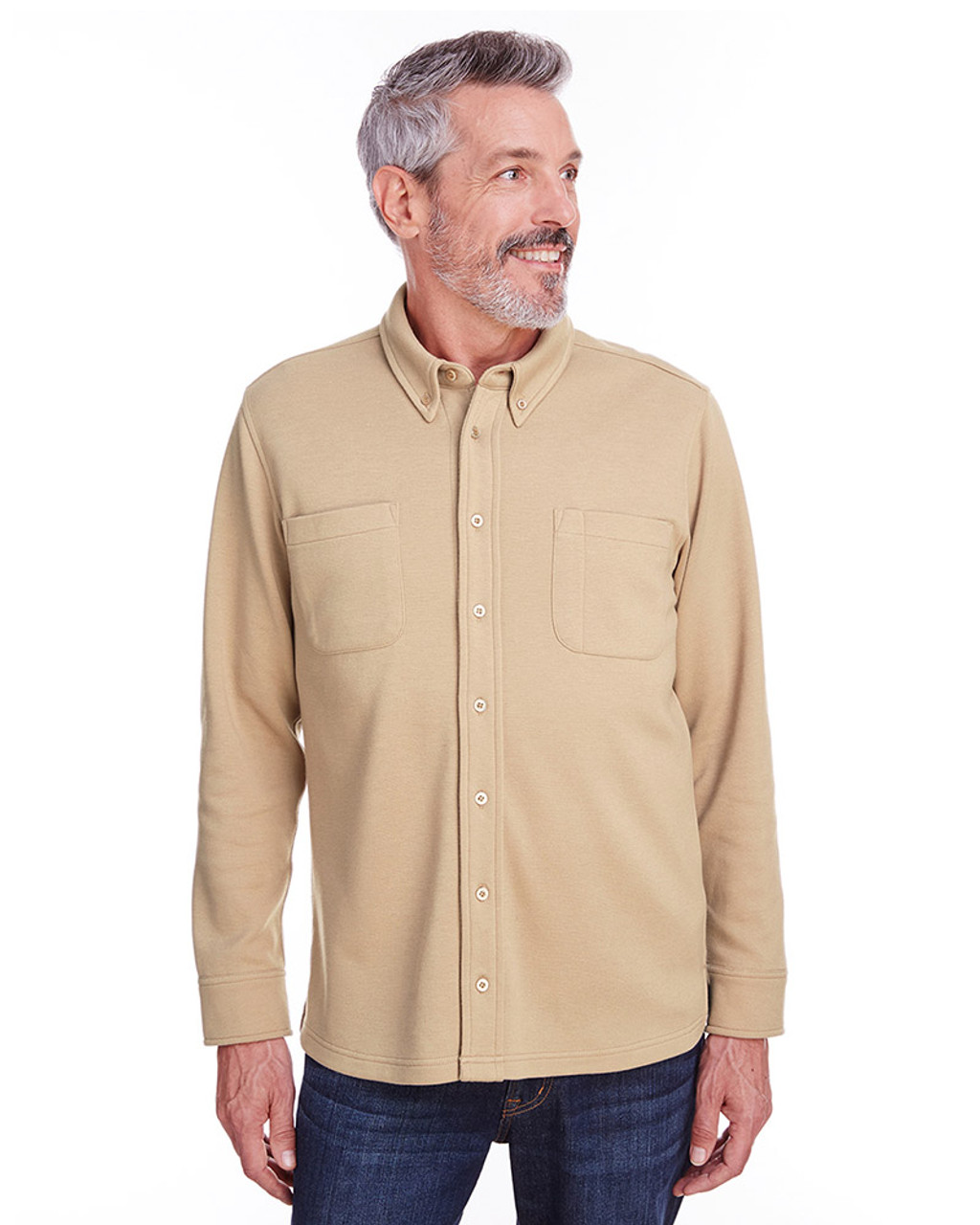 Khaki - M708 Harriton Adult StainBloc™ Pique Fleece Shirt-Jacket | Blankclothing.ca