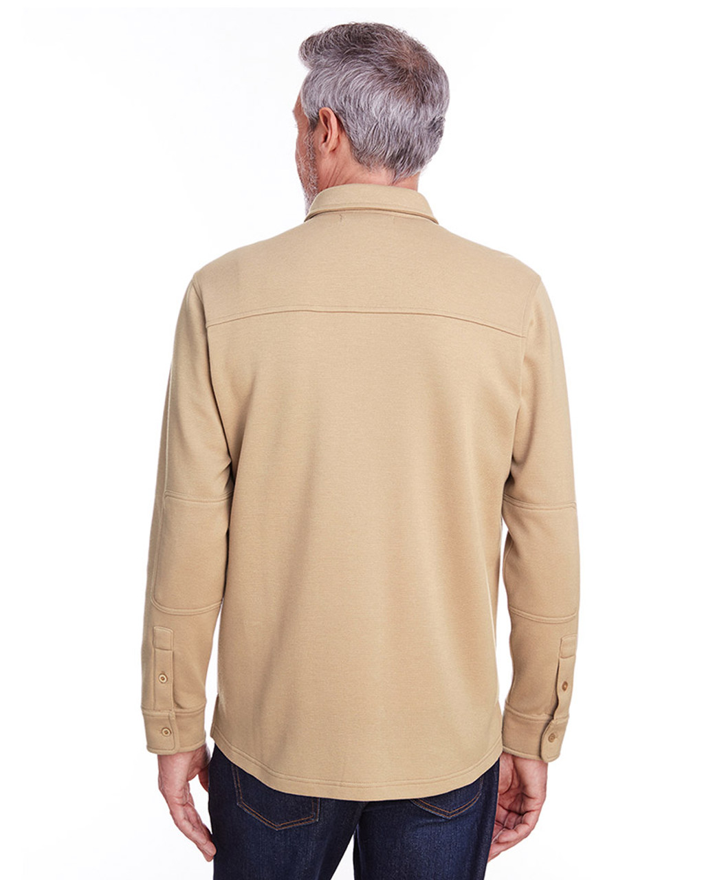 Khaki - back, M708 Harriton Adult StainBloc™ Pique Fleece Shirt-Jacket | Blankclothing.ca