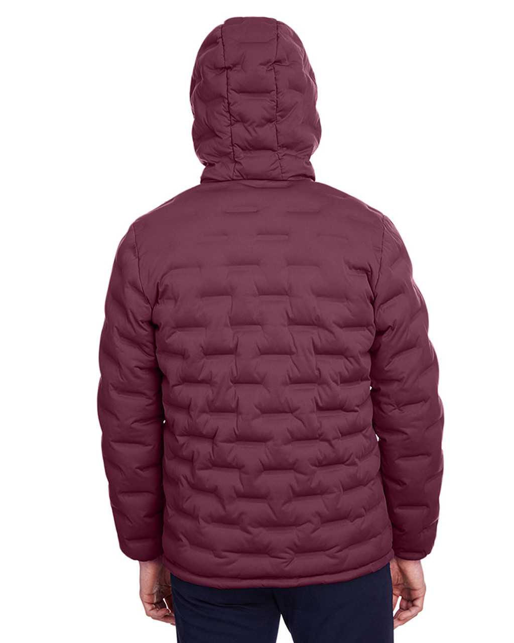 Burgundy/Olympic Blue - back, NE708 North End Men's Loft Puffer Jacket | Blankclothing.ca