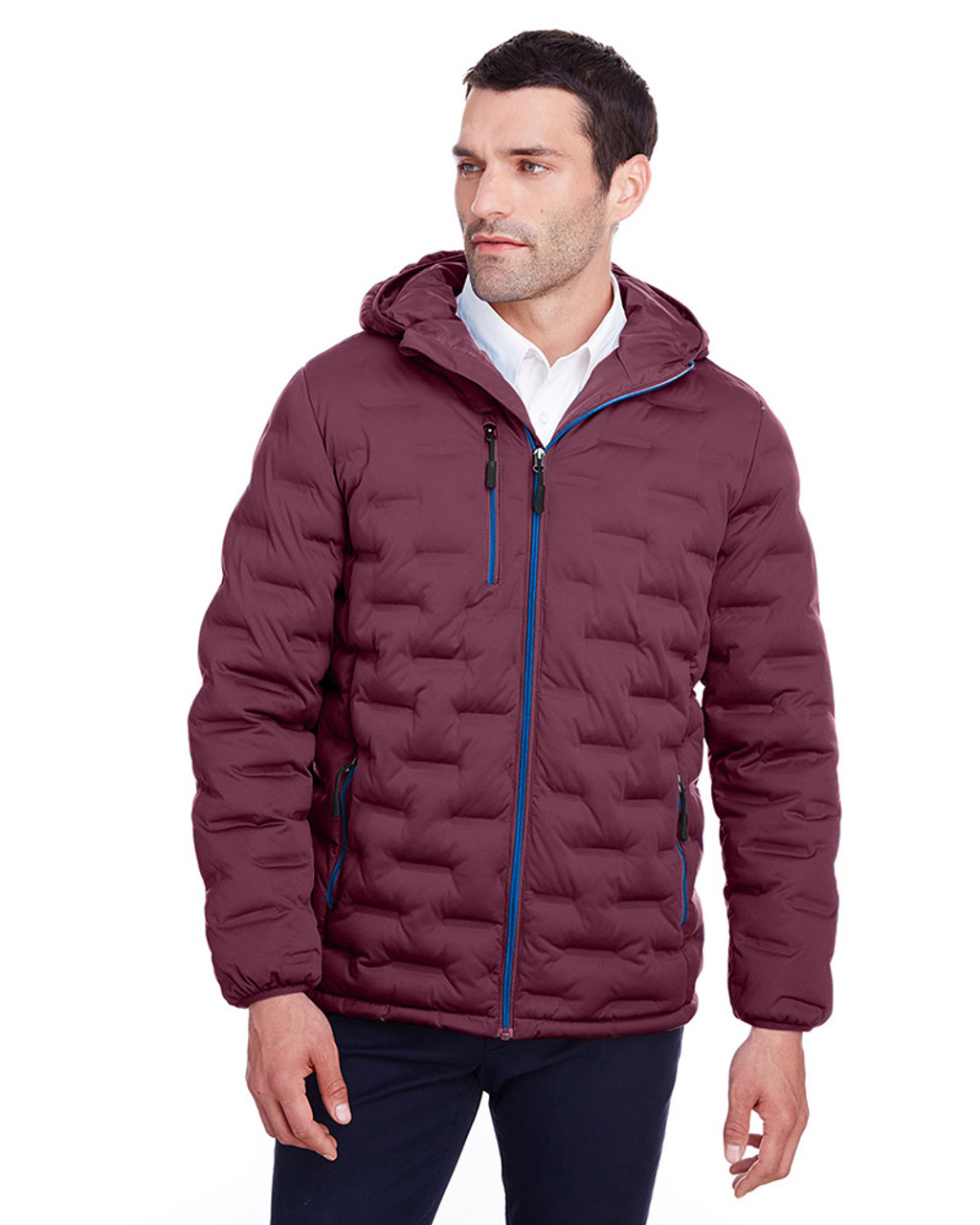 Burgundy/Olympic Blue - NE708 North End Men's Loft Puffer Jacket | Blankclothing.ca