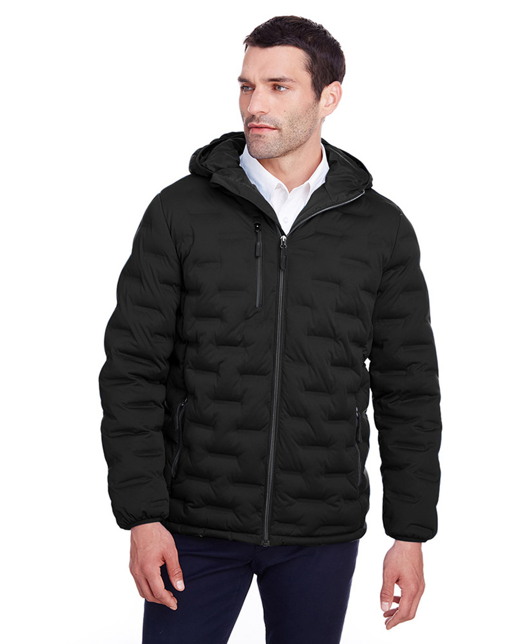 Black/Carbon - NE708 North End Men's Loft Puffer Jacket | Blankclothing.ca