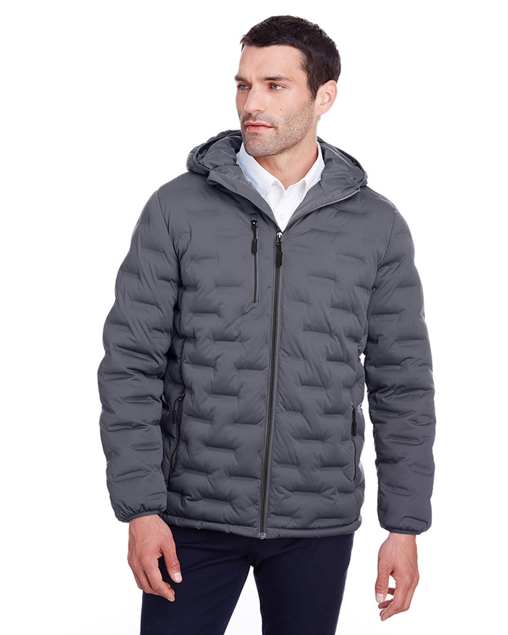 Carbon/Black - NE708 North End Men's Loft Puffer Jacket | Blankclothing.ca