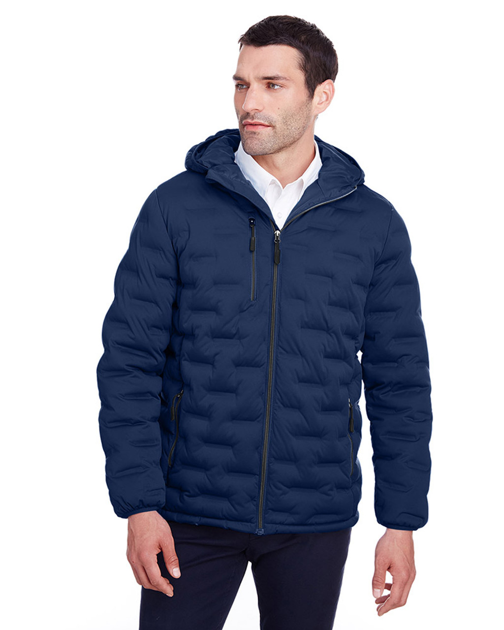 Classic Navy/Carbon - NE708 North End Men's Loft Puffer Jacket | Blankclothing.ca