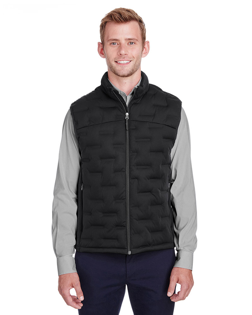 Black/Black/Carbon - NE709 North End Men's Pioneer Hybrid Vest | Blankclothing.ca