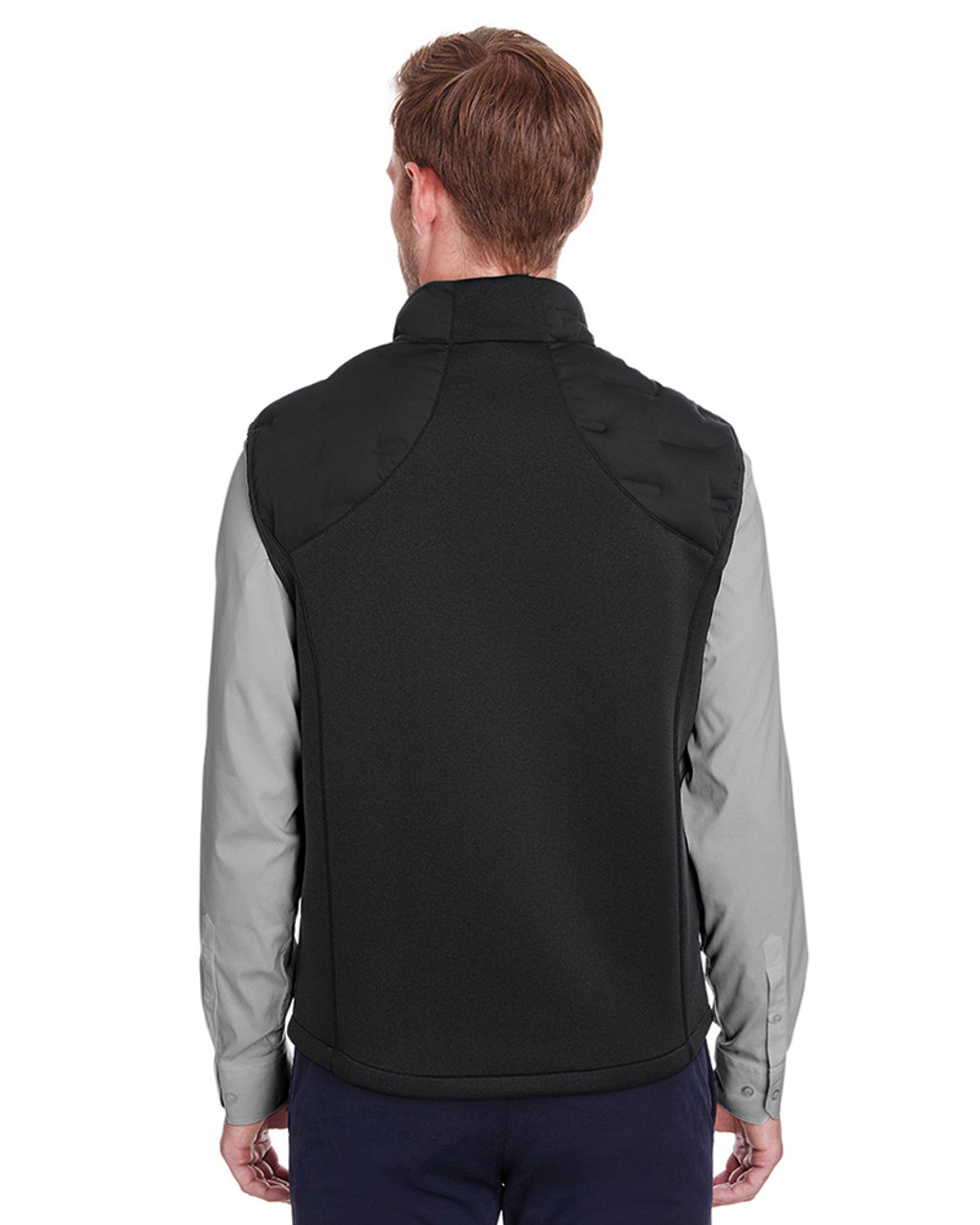 Black/Black/Carbon - back, NE709 North End Men's Pioneer Hybrid Vest | Blankclothing.ca