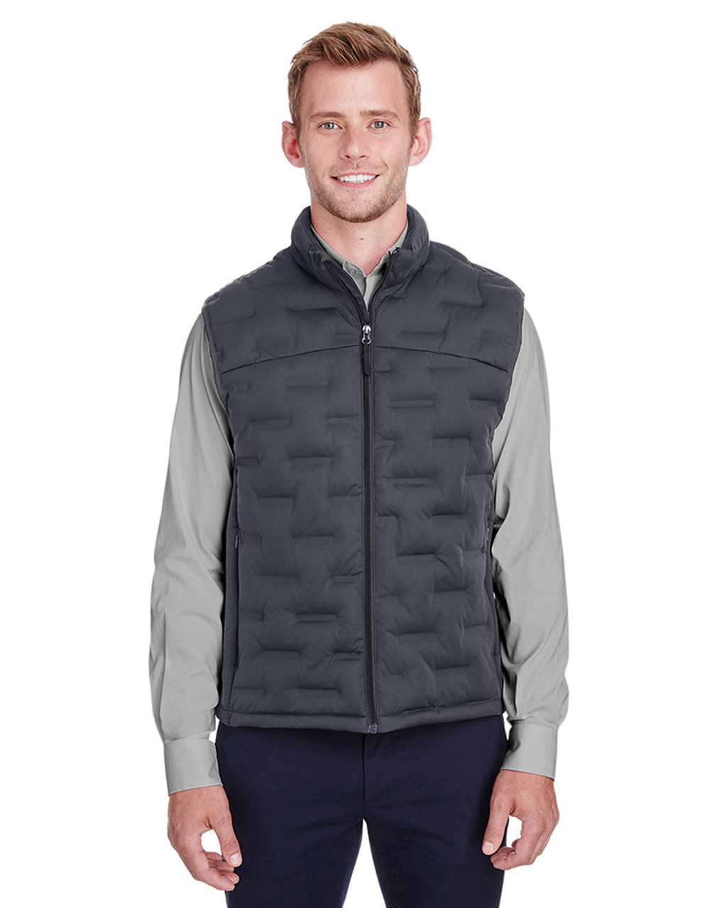 Carbon/Black Heather/Black - NE709 North End Men's Pioneer Hybrid Vest | Blankclothing.ca