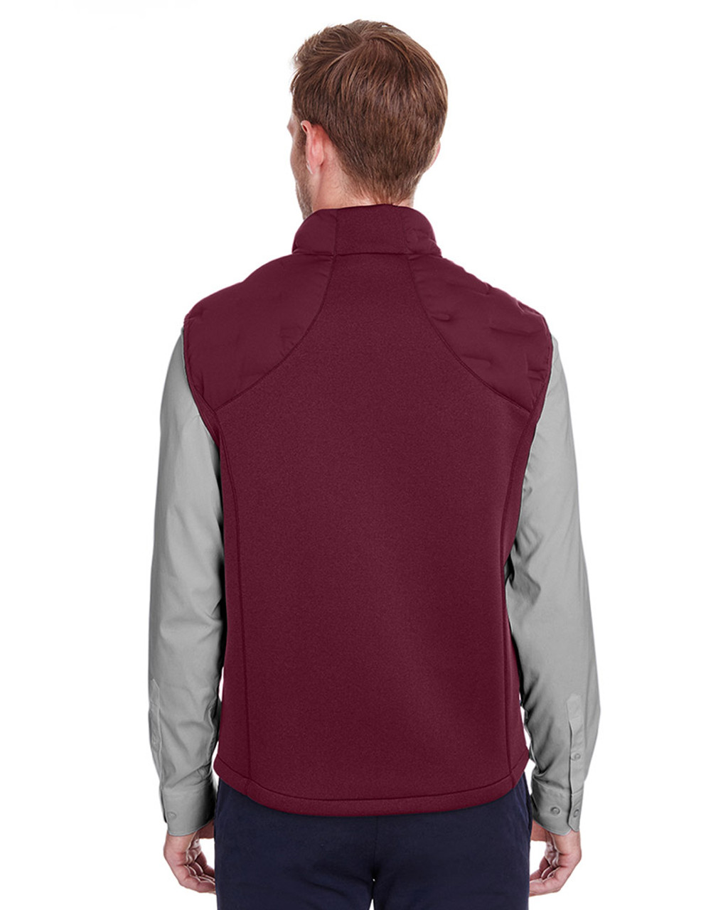 Burgundy/Burgundy Heather/Olympic Blue - back, NE709 North End Men's Pioneer Hybrid Vest | Blankclothing.ca