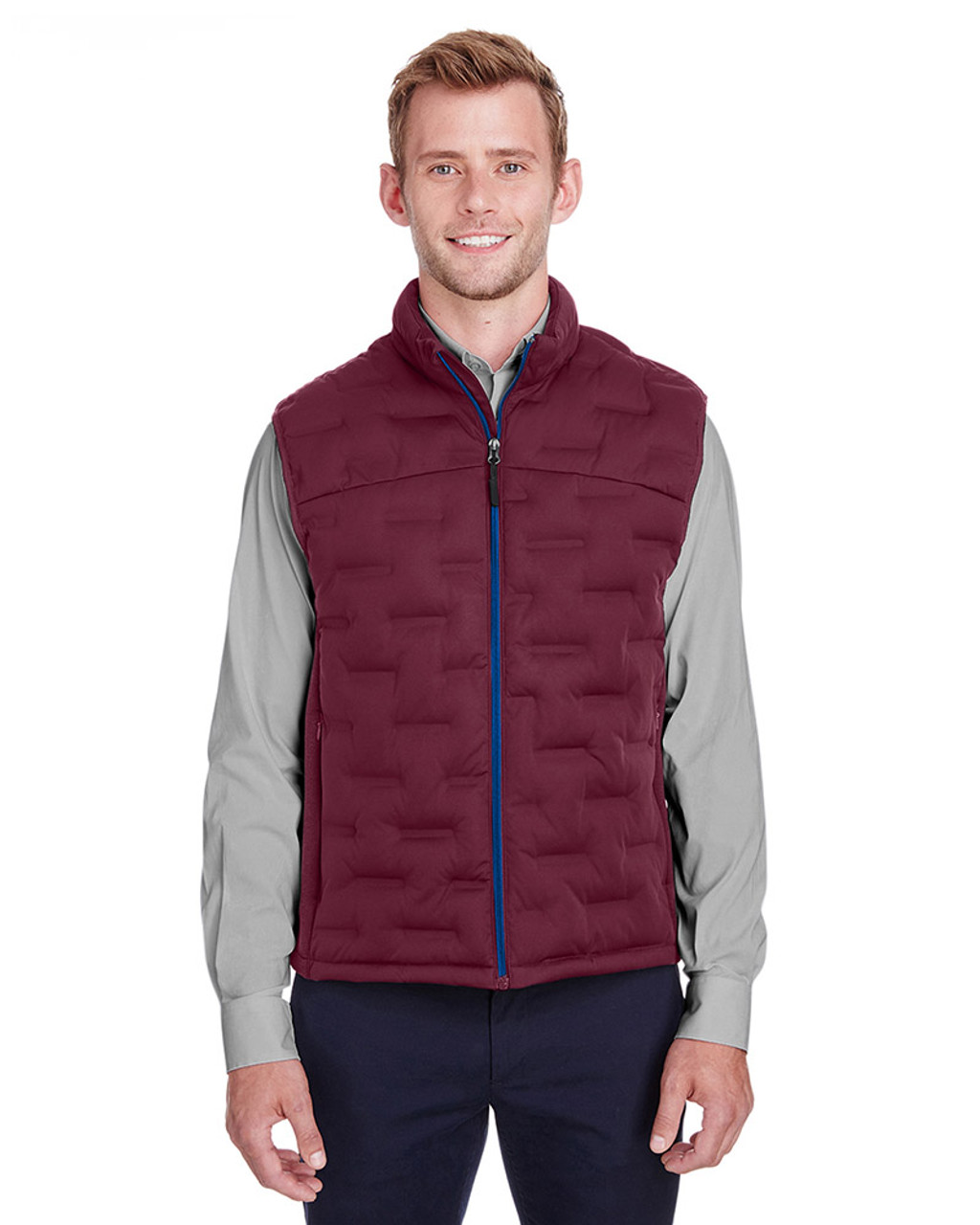 Burgundy/Burgundy Heather/Olympic Blue - NE709 North End Men's Pioneer Hybrid Vest | Blankclothing.ca