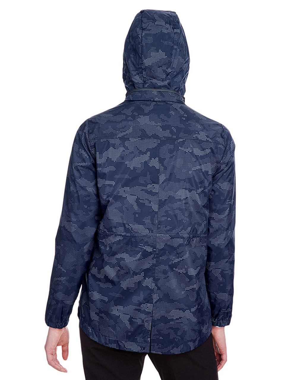 Classic Navy/Carbon - back, NE711W North End Ladies' Rotate Reflective Jacket | Blankclothing.ca