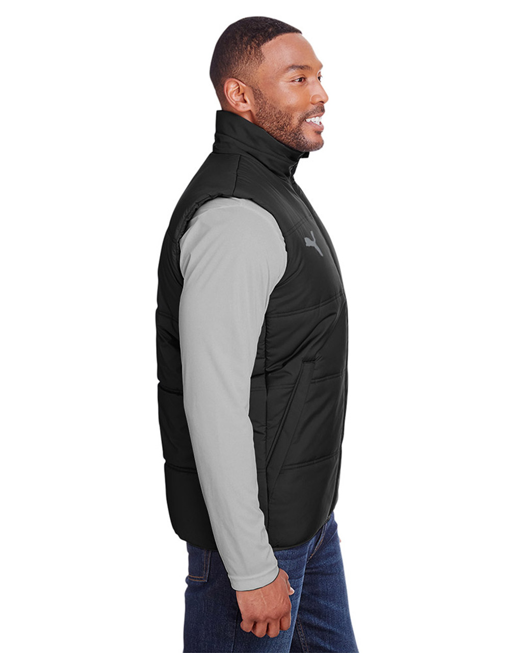 Puma Black/Quiet Shade - side, 582007 Puma Sport Essential Adult Padded Vest | BlankClothing.ca