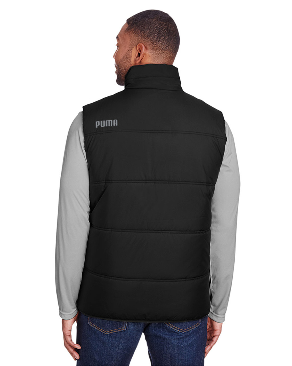 Puma Black/Quiet Shade - back, 582007 Puma Sport Essential Adult Padded Vest | BlankClothing.ca