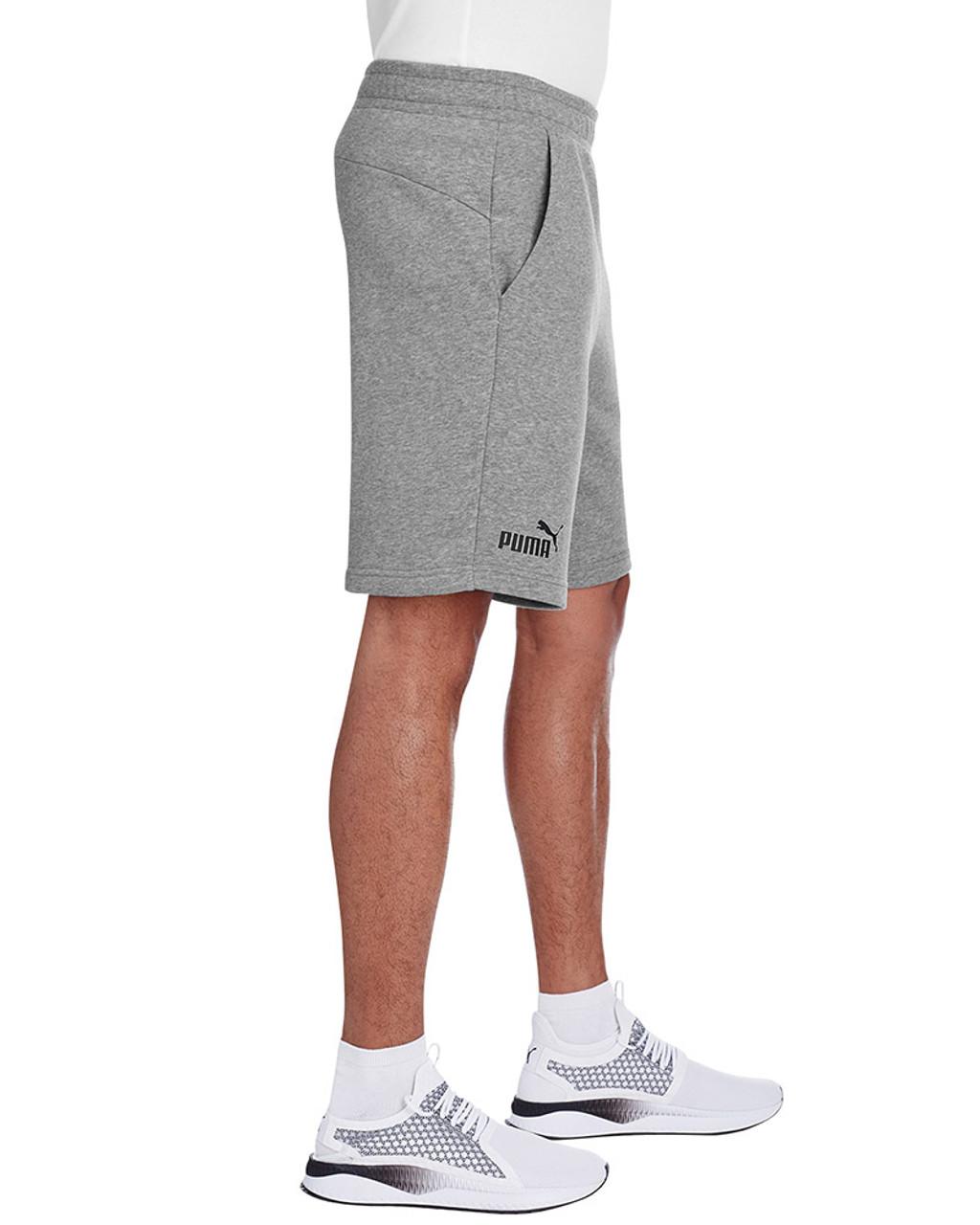 Midnight Grey Heather/Puma Black - side, 582008 Puma Sport Essential Adult Bermuda Short | Blankclothing.ca