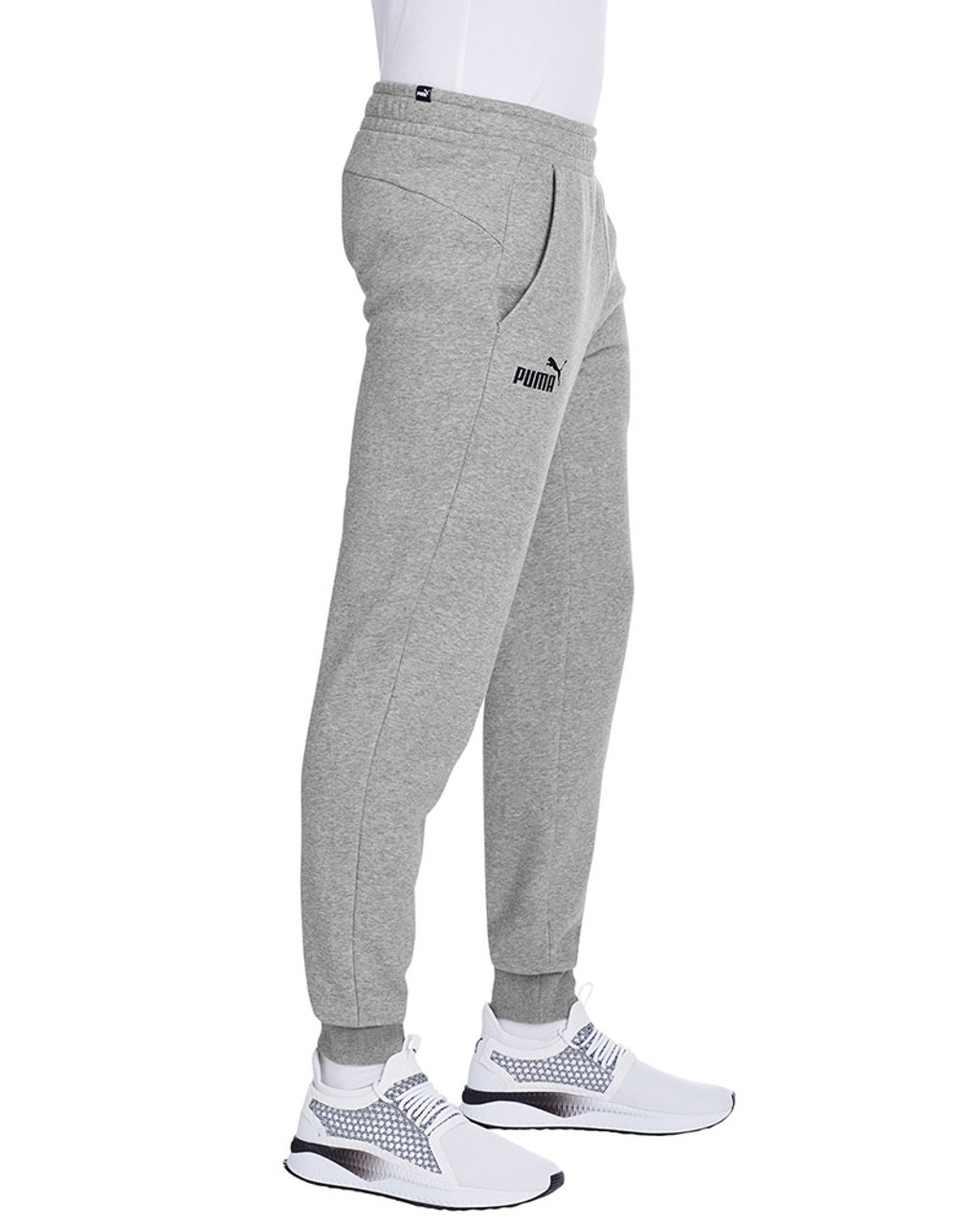 Midnight Grey Heather/Puma Black - side, 596989 Puma Sport Essential Adult Logo Sweatpant | Blankclothing.ca