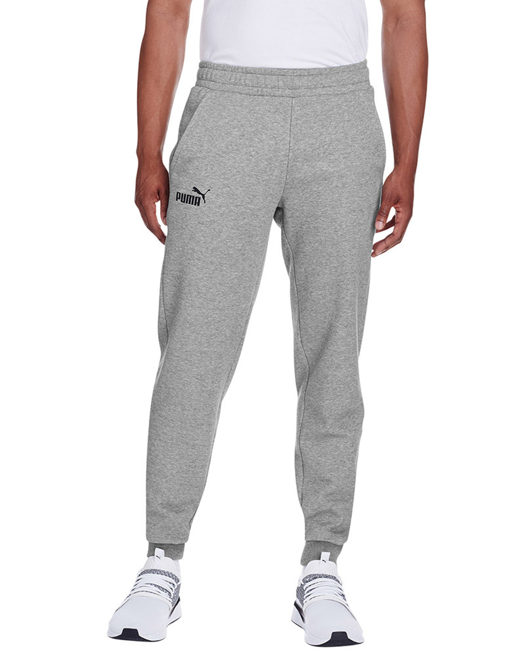 Midnight Grey Heather/Puma Black - 596989 Puma Sport Essential Adult Logo Sweatpant | Blankclothing.ca