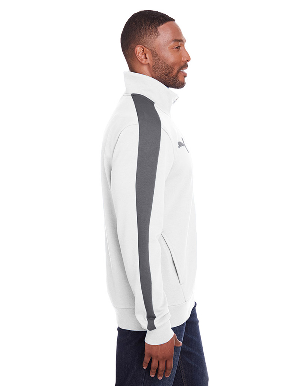 Bright White/Quiet Shade - side, 597021 Puma Sport Adult P48 Fleece Track Jacket | Blankclothing.ca