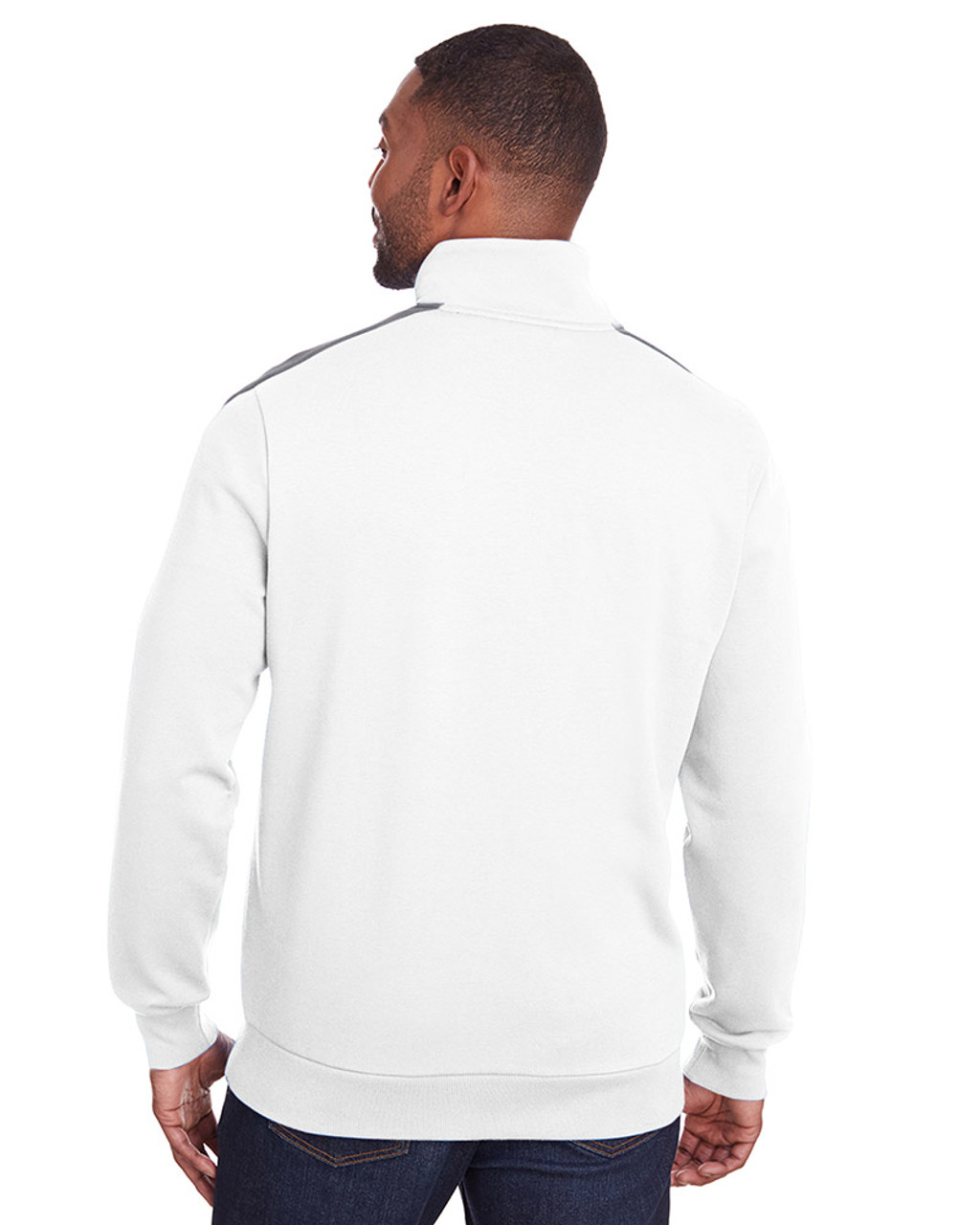 Bright White/Quiet Shade - back, 597021 Puma Sport Adult P48 Fleece Track Jacket | Blankclothing.ca