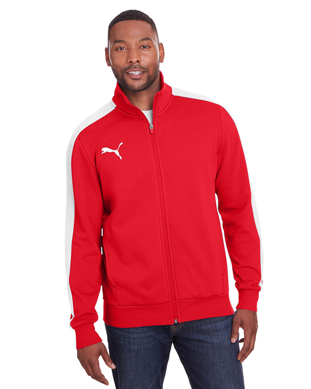 High Risk Red/Puma White - 597021 Puma Sport Adult P48 Fleece Track Jacket | Blankclothing.ca