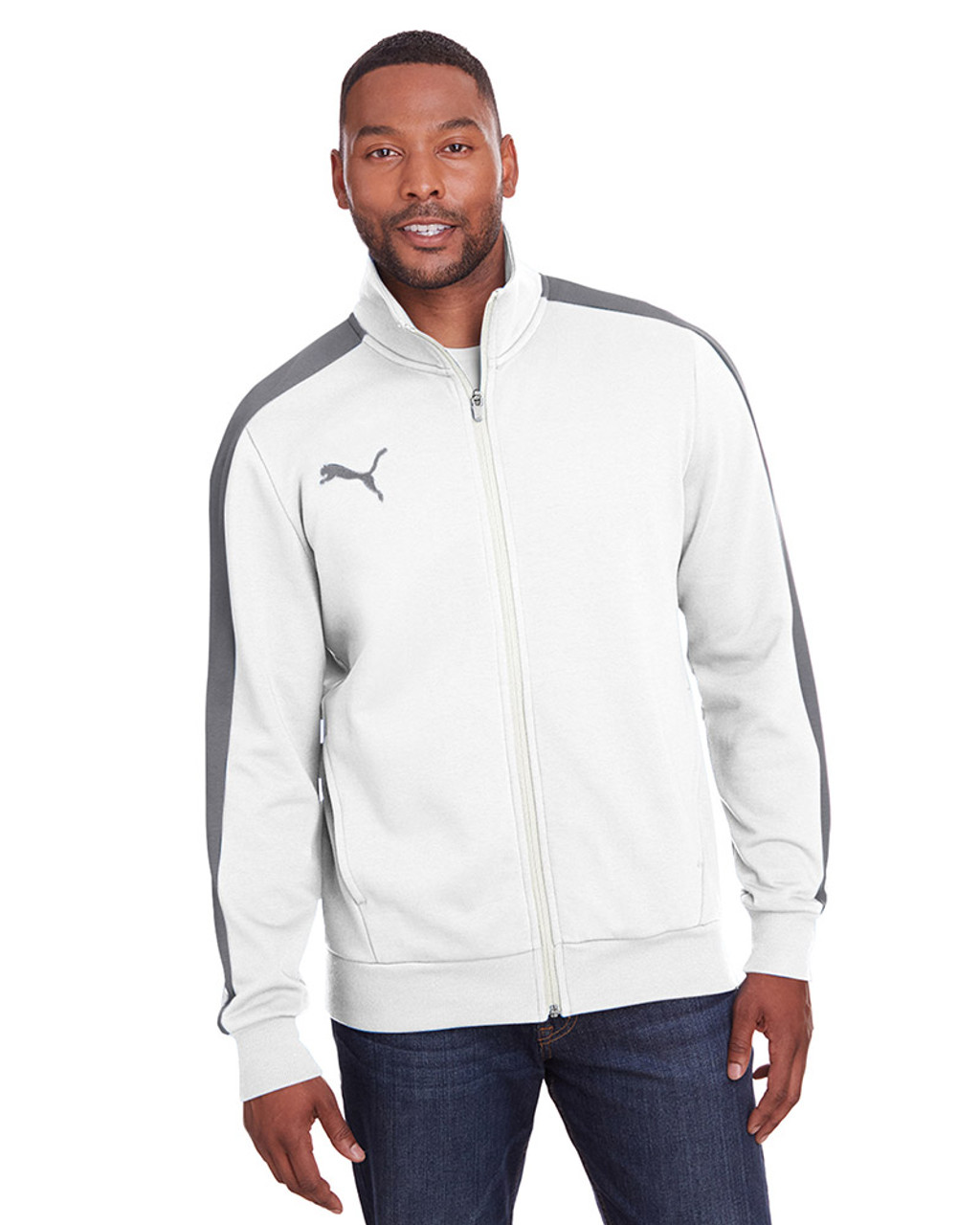 Bright White/Quiet Shade - 597021 Puma Sport Adult P48 Fleece Track Jacket | Blankclothing.ca