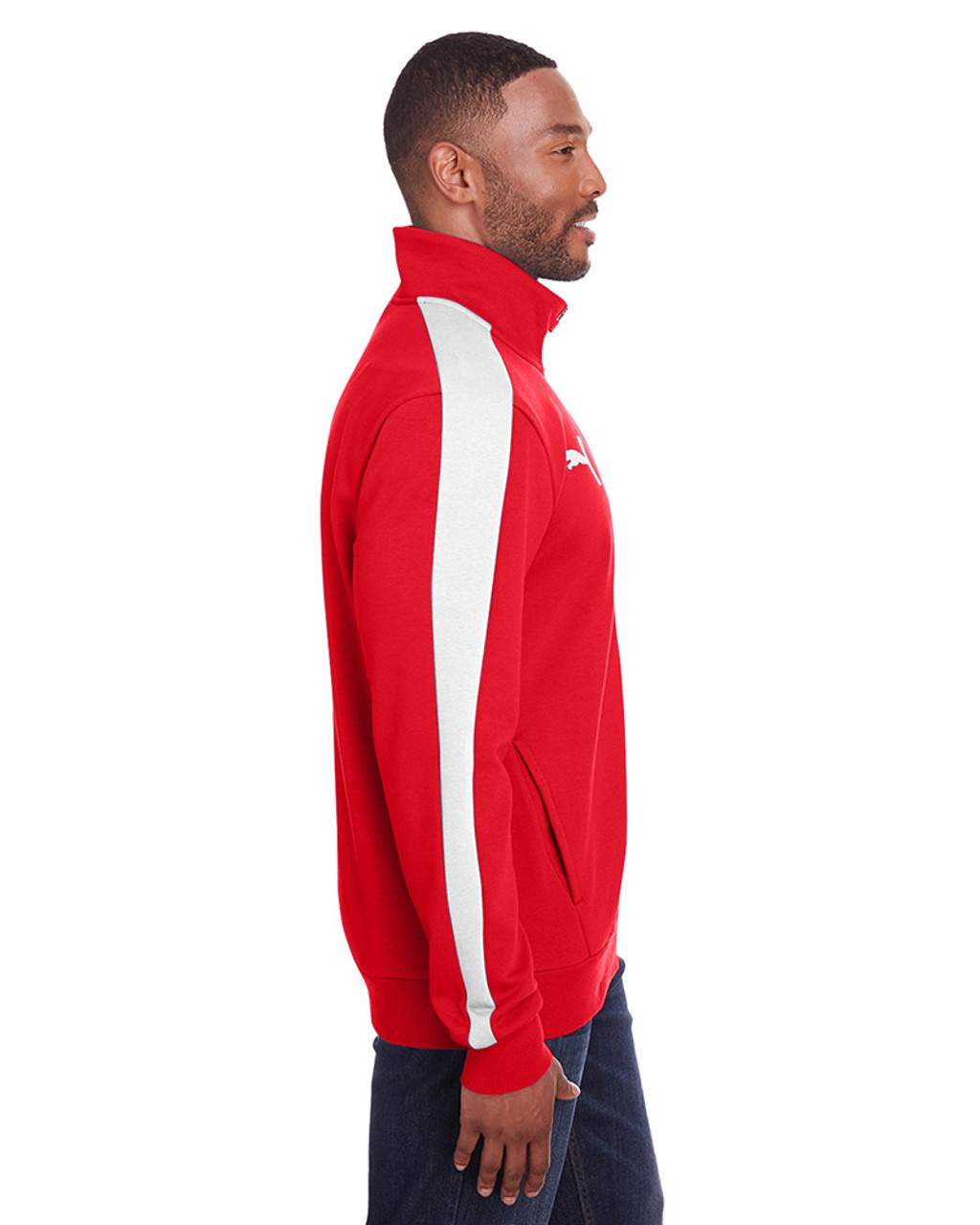 High Risk Red/Puma White - side, 597021 Puma Sport Adult P48 Fleece Track Jacket | Blankclothing.ca