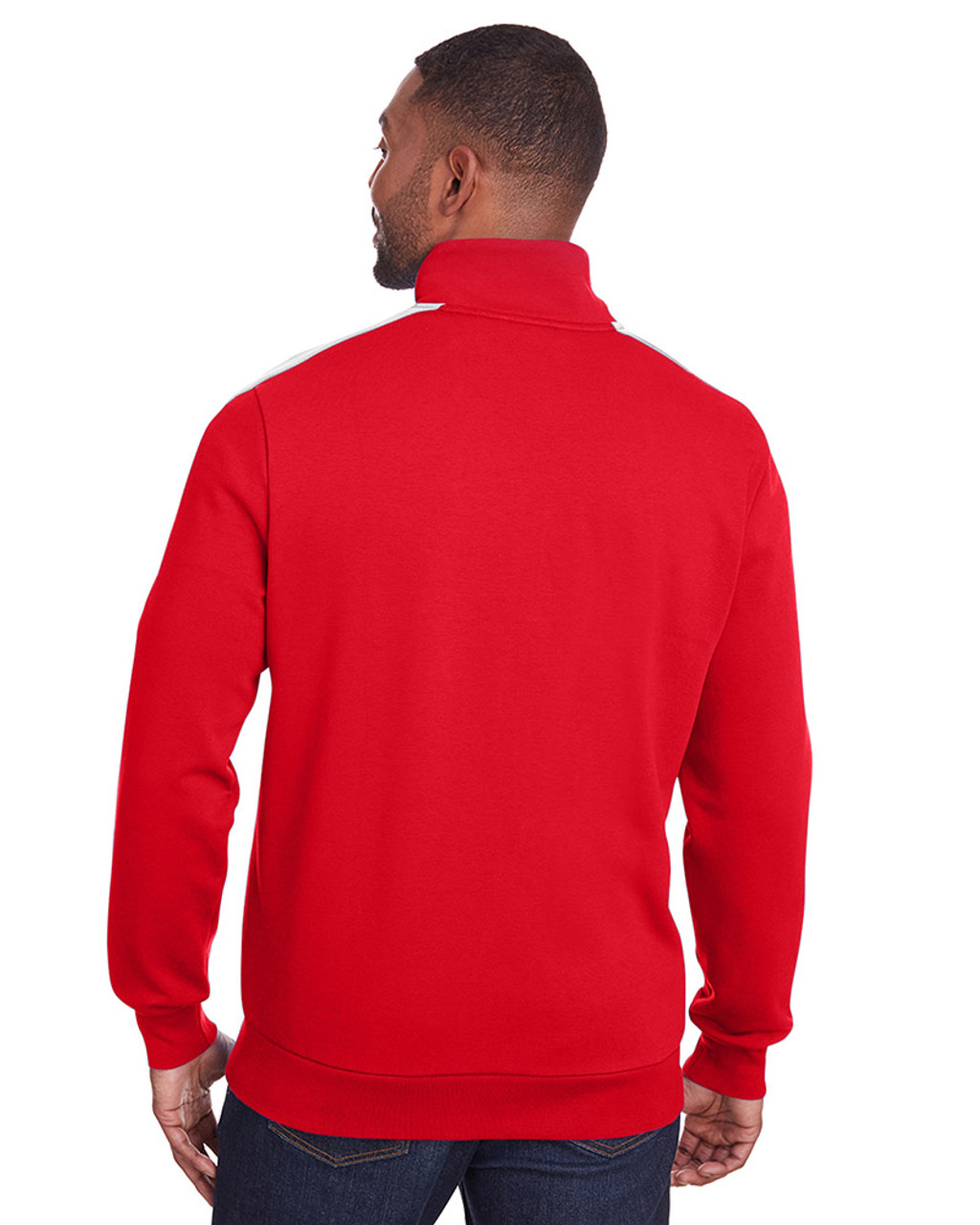 High Risk Red/Puma White - back, 597021 Puma Sport Adult P48 Fleece Track Jacket | Blankclothing.ca