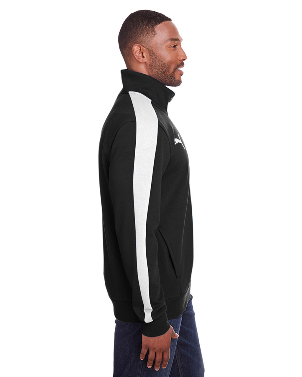 Puma Black/Puma White - side, 597021 Puma Sport Adult P48 Fleece Track Jacket | Blankclothing.ca