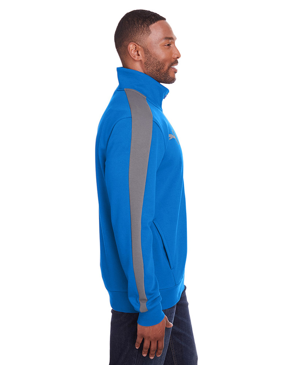 Lapis Blue/Quiet Shade - side, 597021 Puma Sport Adult P48 Fleece Track Jacket | Blankclothing.ca