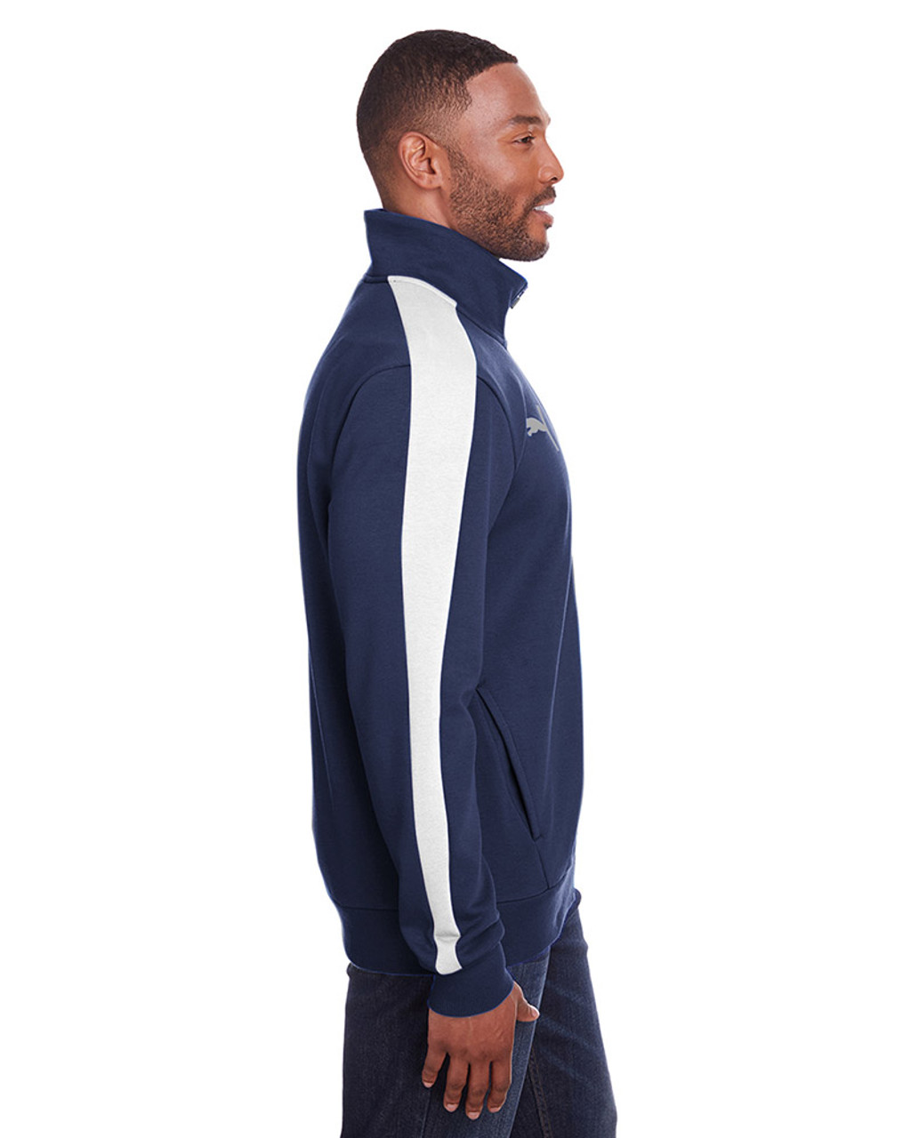 Peacoat/Quiet Shade - side, 597021 Puma Sport Adult P48 Fleece Track Jacket | Blankclothing.ca
