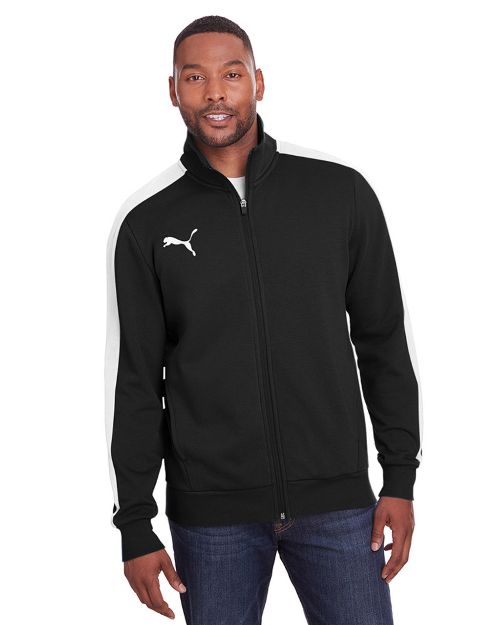 Puma Black/Puma White - 597021 Puma Sport Adult P48 Fleece Track Jacket | Blankclothing.ca