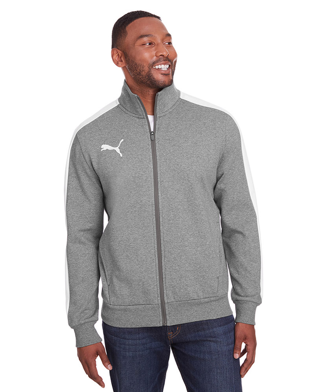 Midnight Grey Heather/Puma White - 597021 Puma Sport Adult P48 Fleece Track Jacket | Blankclothing.ca