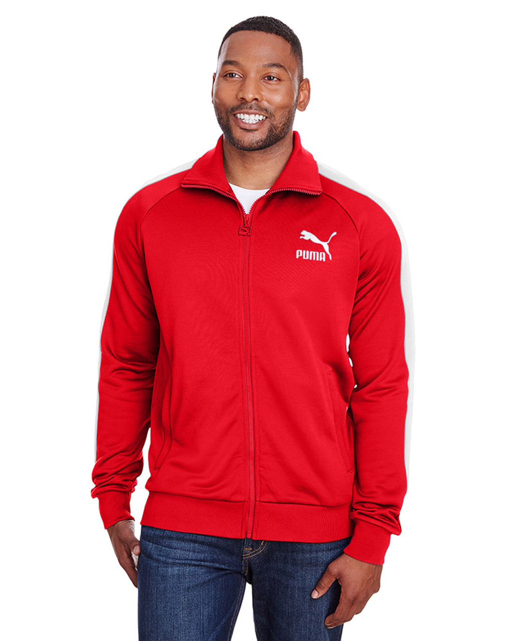 High Risk Red/Puma White - 582364 Puma Sport Adult Iconic T7 Track Sweatshirt | Blankclothing.ca