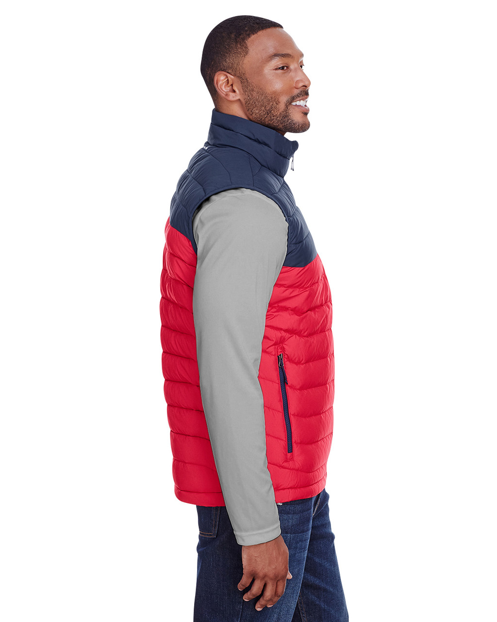Mountain Red/Columbia Navy - Side, 1748031 Columbia Men's Powder Lite™ Vest | Blankclothing.ca