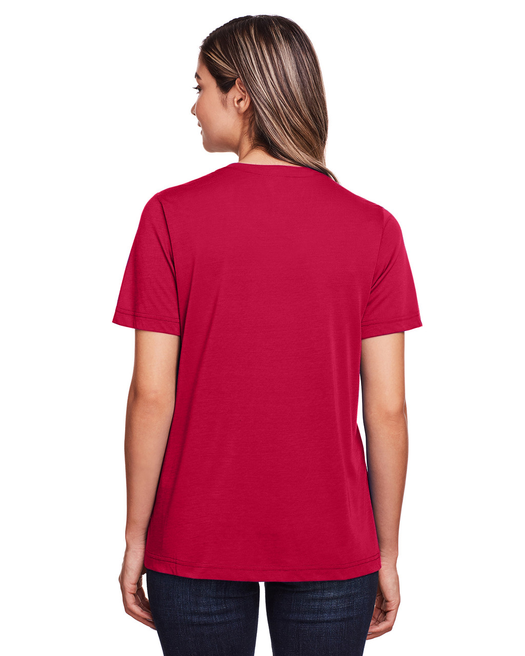 Classic Red - Back, CE111W Core 365 Ladies' Fusion ChromaSoft™ Performance T-Shirt | BlankClothing.ca