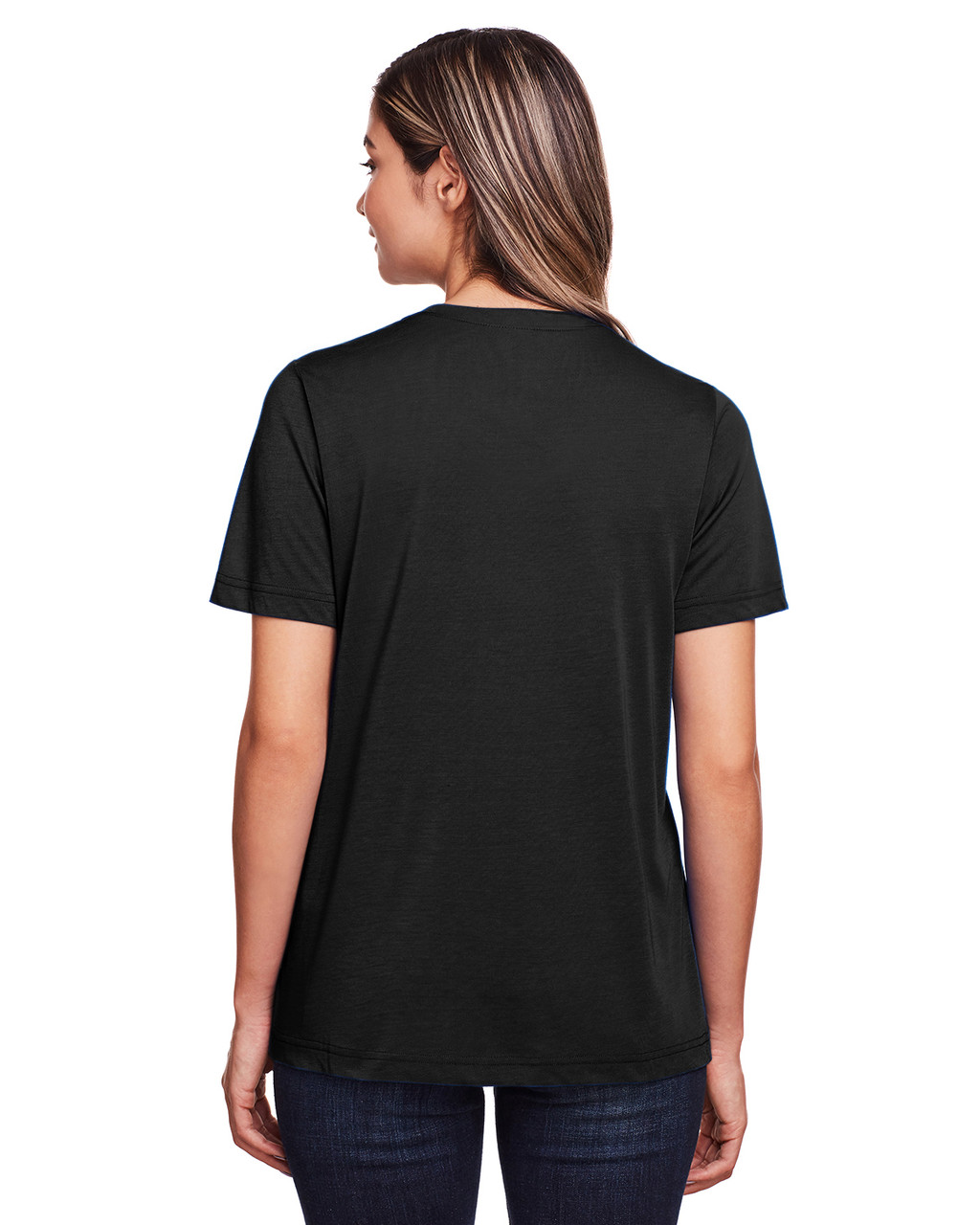 Black - Back, CE111W Core 365 Ladies' Fusion ChromaSoft™ Performance T-Shirt | BlankClothing.ca