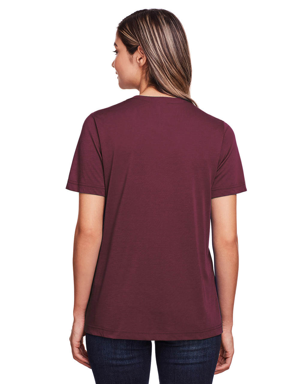 Burgundy - Back, CE111W Core 365 Ladies' Fusion ChromaSoft™ Performance T-Shirt | BlankClothing.ca