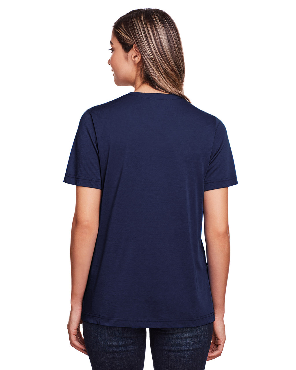 Classic Navy - Back, CE111W Core 365 Ladies' Fusion ChromaSoft™ Performance T-Shirt | BlankClothing.ca