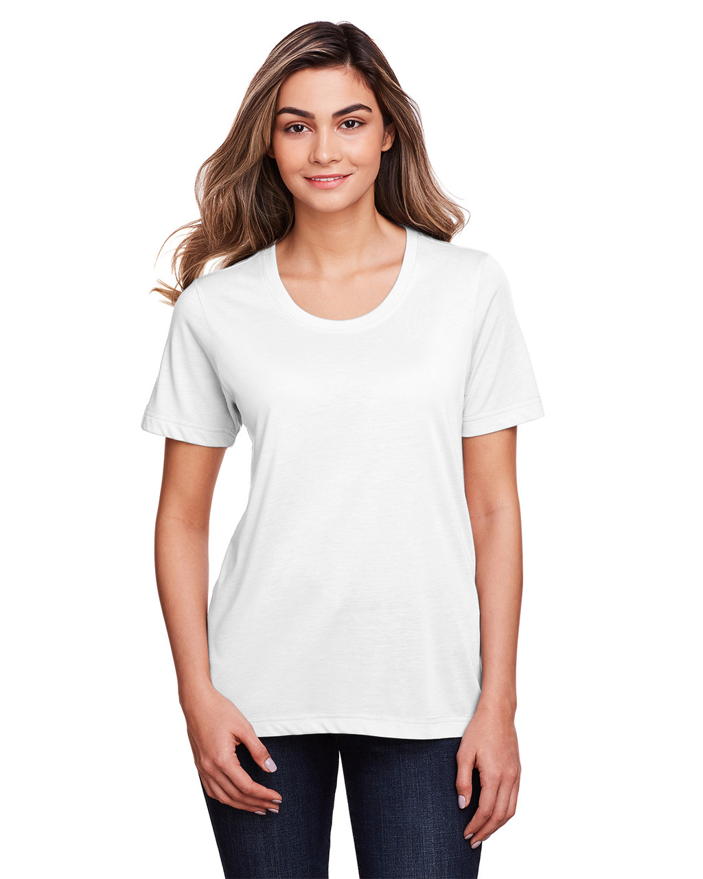 White - CE111W Core 365 Ladies' Fusion ChromaSoft™ Performance T-Shirt | BlankClothing.ca