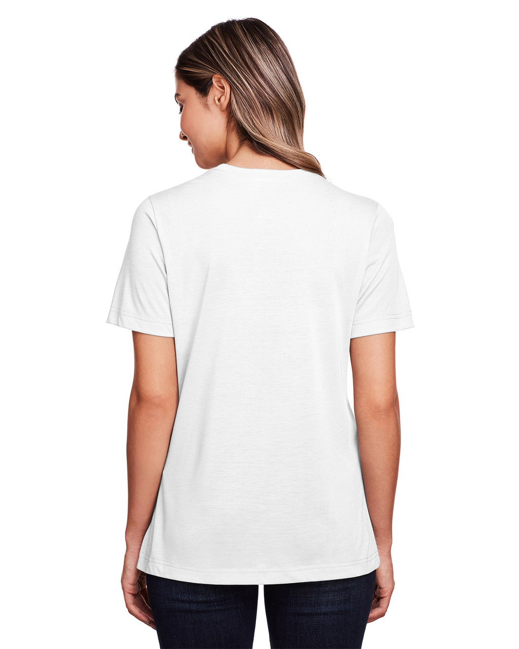 White - Back, CE111W Core 365 Ladies' Fusion ChromaSoft™ Performance T-Shirt | BlankClothing.ca