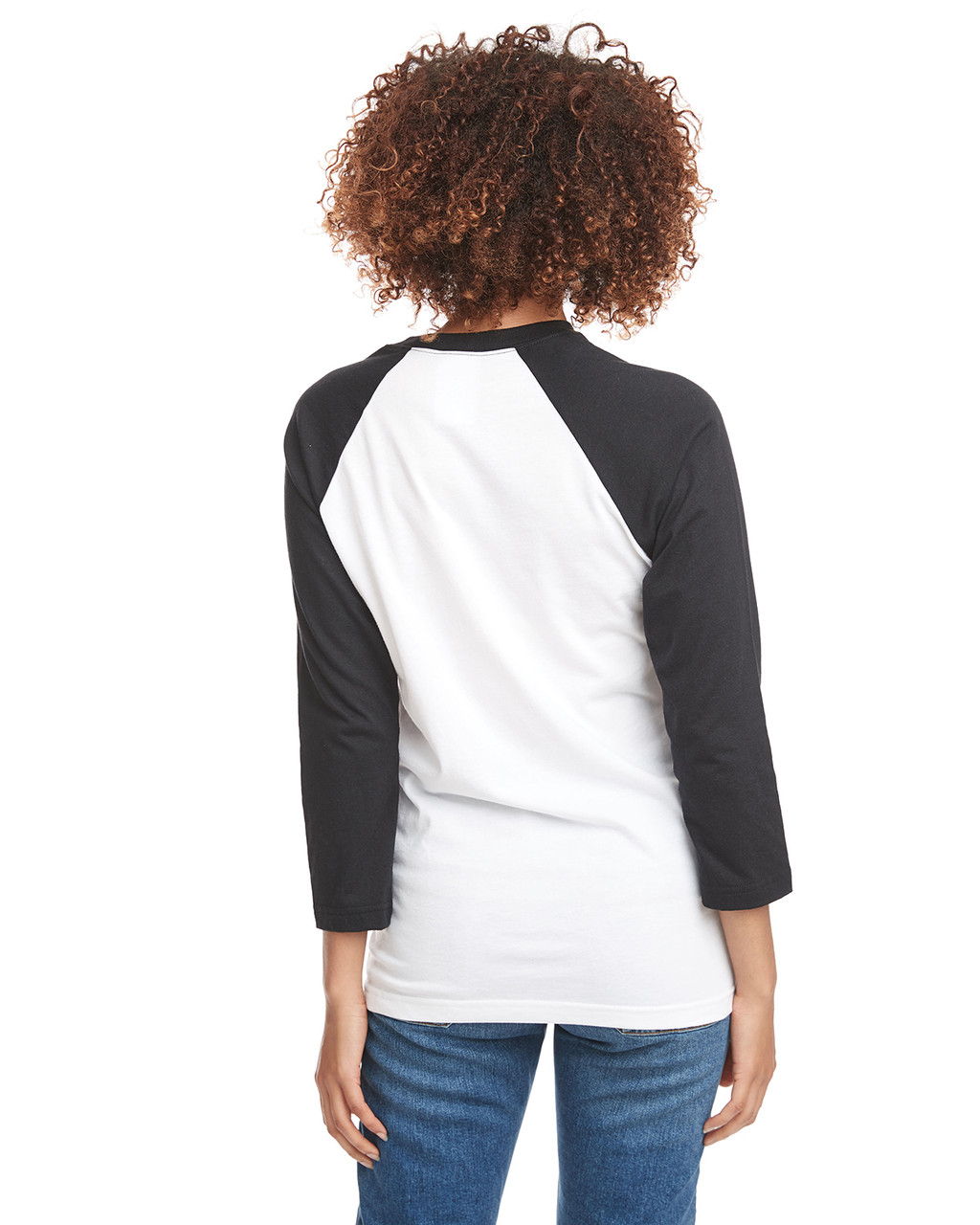 Black/White - Back, 6251 Next Level Unisex CVC 3/4 Sleeve Raglan Baseball T-Shirt | BlankClothing.ca