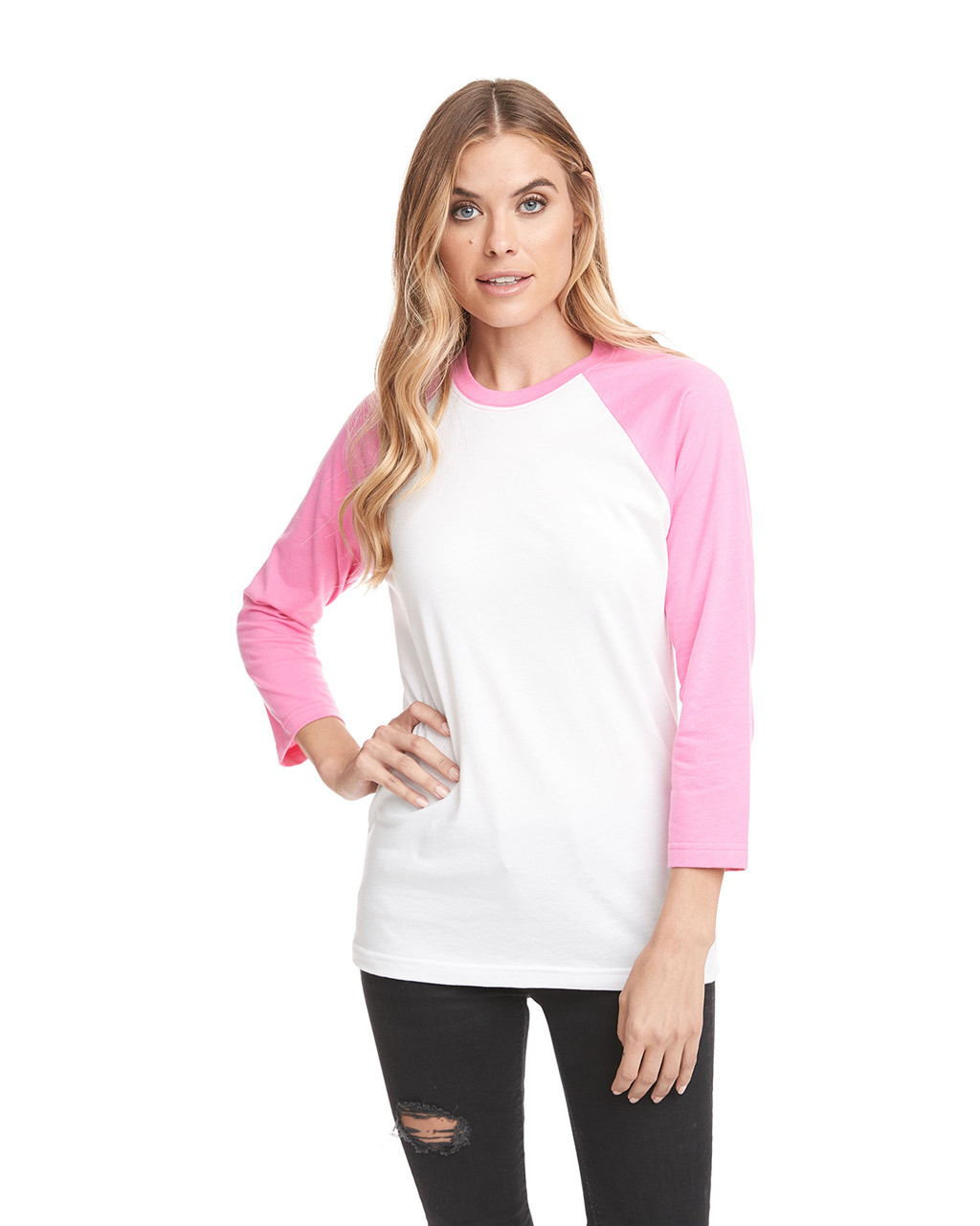 Hot Pink/White - 6251 Next Level Unisex CVC 3/4 Sleeve Raglan Baseball T-Shirt | BlankClothing.ca