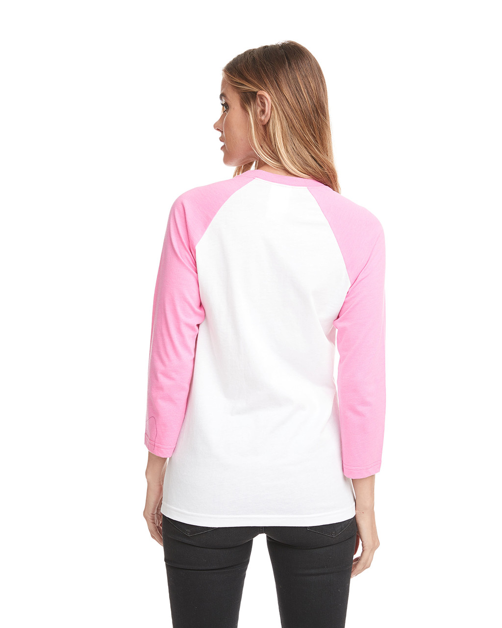 Hot Pink/White - Back, 6251 Next Level Unisex CVC 3/4 Sleeve Raglan Baseball T-Shirt | BlankClothing.ca
