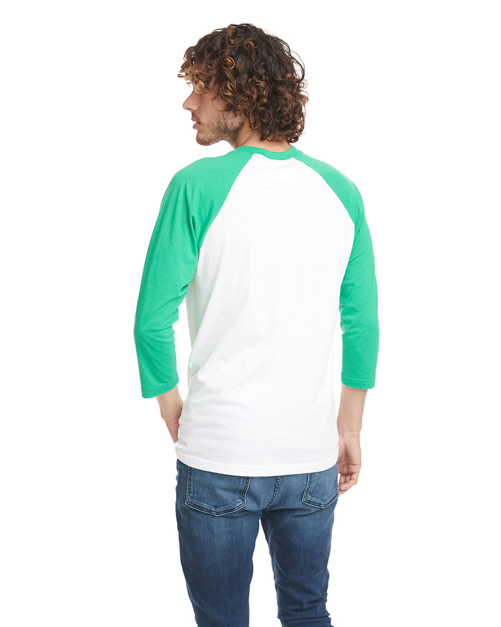 Kelly Green/White - Back, 6251 Next Level Unisex CVC 3/4 Sleeve Raglan Baseball T-Shirt | BlankClothing.ca