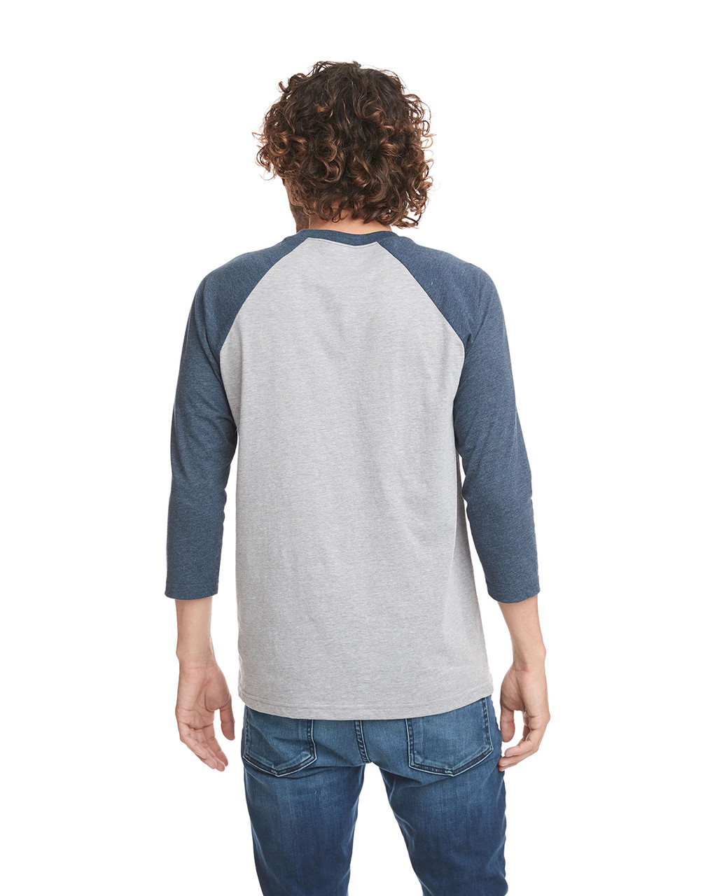 Midnight/Dark Heather Grey - Back, 6251 Next Level Unisex CVC 3/4 Sleeve Raglan Baseball T-Shirt | BlankClothing.ca
