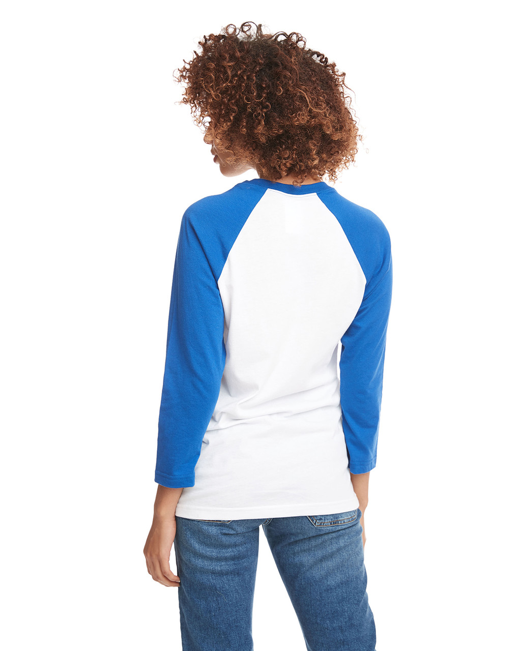 Royal/White - Back, 6251 Next Level Unisex CVC 3/4 Sleeve Raglan Baseball T-Shirt | BlankClothing.ca