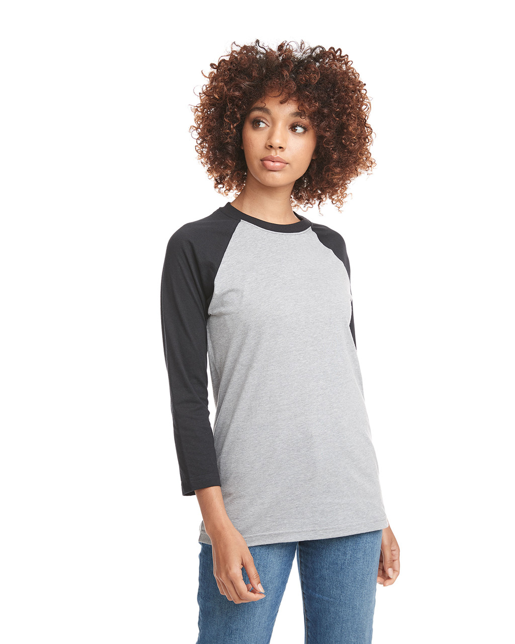Black/Dark Heather Grey - 6251 Next Level Unisex CVC 3/4 Sleeve Raglan Baseball T-Shirt | BlankClothing.ca